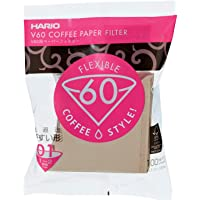 Hario V60 Paper Coffee Filters Size 01 Natural, Tabbed