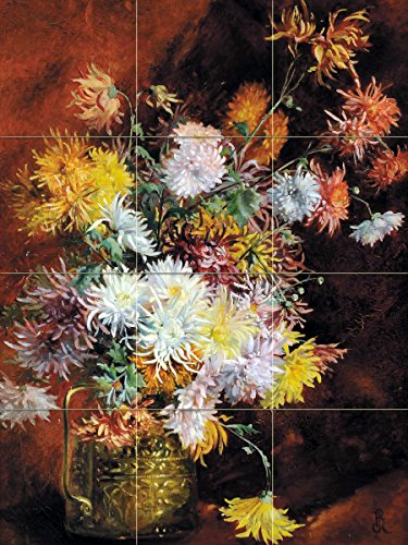 Still life of flowers bouquet of asters in a copper mug by Jean-Baptiste Claude Robie Tile Mural Kitchen Bathroom Wall Backsplash Behind Stove Range Sink Splashback 3x4 4.25