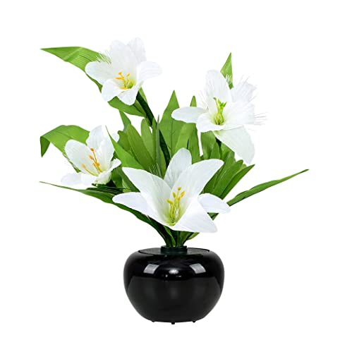 Luxury white lillies flower arrangement and vase fibre optic led luxury white lillies flower arrangement and vase fibre optic led colour changing table lamp mozeypictures Images