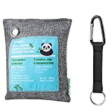 Image of Jerrybox Charcoal Bag Natural Bamboo Charcoal Air Purifying Bag, Chemical Free, Fragrance Free, Reusable for Your Wardrobe, Gym Bag, Shoes, Bathroom and Car (200g, with Hook Clip)