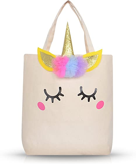 Amazon Com Unicorn Gifts Unicorn Tote Bag For Kids Girls Large Cotton Canvas Tote Bag For School Library Books Beach Bag