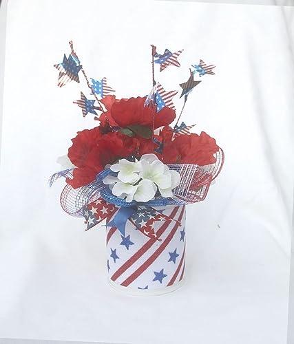 Amazoncom Patriotic Floral Arrangement July 4th Table Centerpiece