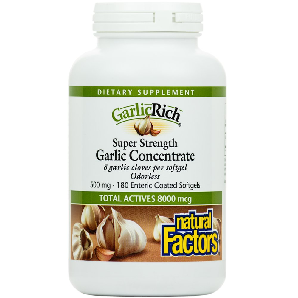 Natural Factors - GarlicRich Super Strength Garlic Concentrate, Immune System Support, 180 Enteric Coated Soft Gels