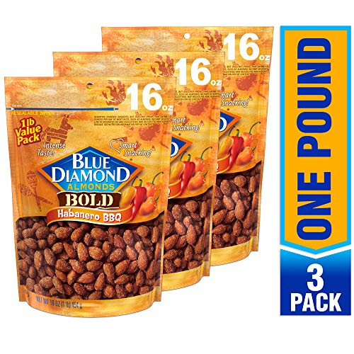 (Blue Diamond Almonds, Bold Habanero BBQ, 16 Ounce (Pack of 3))