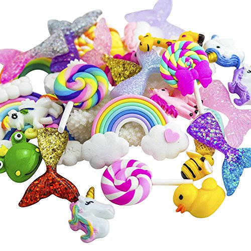 ANPHNIE Slime Charms Beads Supplies Set 30pcs Craft Buttons Assorted Mermaid Tail Rainbow Lollipop Animals Resin Flatback for Craft Making, Ornament Scrapbooking DIY Crafts