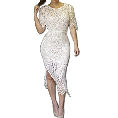 BelinlaAny Women Sexy Lace Short Sleeve open fork Elegant vestidos Party Dress (M, white