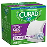 "Curad Medium Gauze Pads 3"" x 3"", 25 ea (Pack of 2)"
