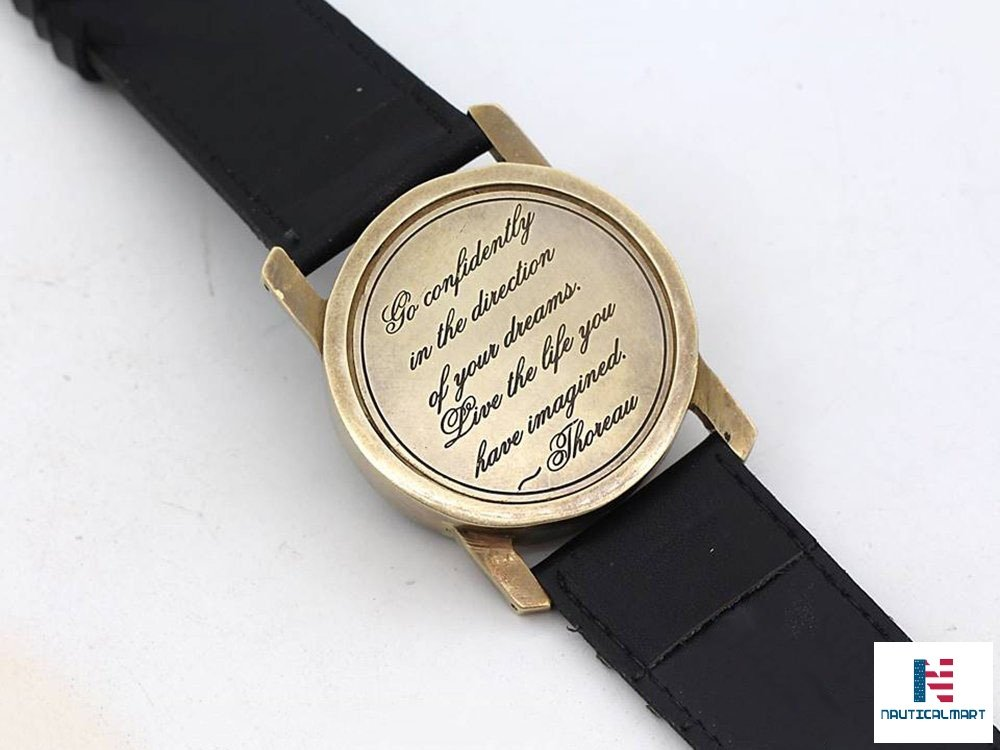 NAUTICALMART Wrist Watch Sundial Cuff with Thoreau's Go Confidently Quote