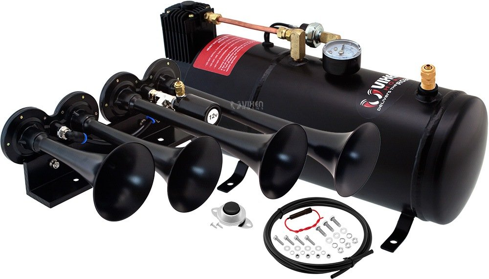Vixen Horns Loud 149dB 4//Quad Black Trumpet Train Air Horn with 1 Gallon Tank and 150 PSI Compressor Full//Complete Onboard System//Kit VXO8210//4124B