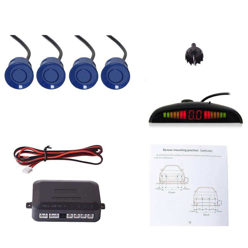 Cocar Coche Auto Vehí culo Visual Reserva Radar Sistema con 4 Estacionamiento Sensores + Distancia Info Ví deo Salida + Sonido Advertencia (Plata Color)