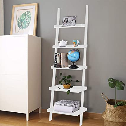 huge discount 62019 a3899 COSTWAY 5 Tier Wooden Wall Rack, Premium MDF Display Ladder Bookcase,  Smooth Surface Leaning Shelf Unit with Large Storage Spaces for Flower  Plant Toy ...