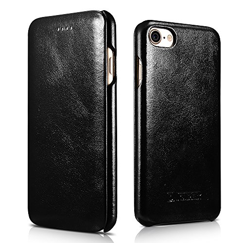 iPhone 8 Case iPhone 7 Leather Case, Icarercase Genuine Vintage Leather Side Open Case in Slim Thin Design, Flip Folio Style Cover with Magnetic Closure for Apple iPhone 7/8 4.7 -