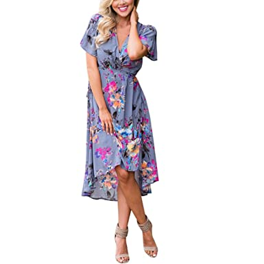 12e035767 PAOLIAN Vestido Mujer Verano Casual Vestido de Playa Cuello V ...