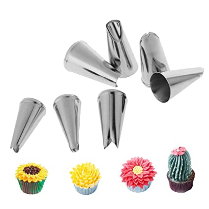 Kitchen, Dining & Bar 7pcs Stainless Steel Leaf Icing Cream Piping Nozzles Cake Decor Tips Baking Tool Home & Garden