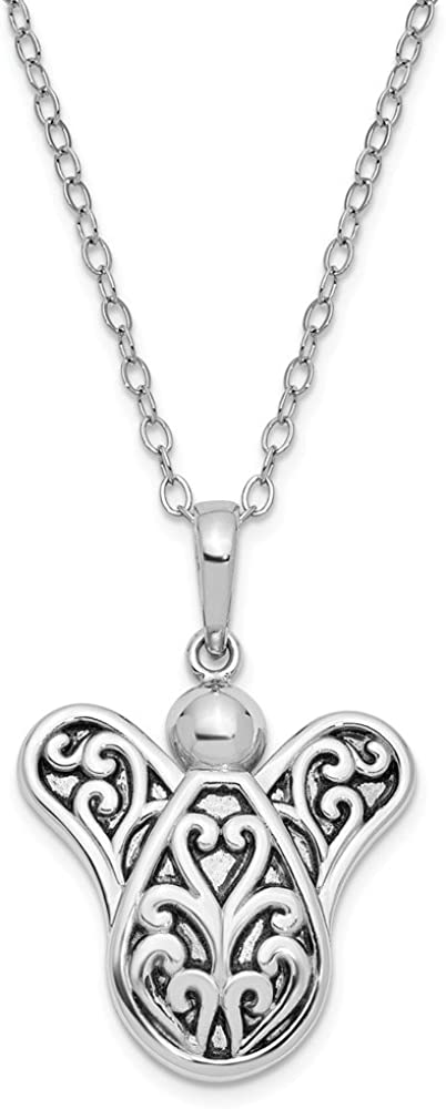 Jewelry Necklaces Necklace with Pendants Sterling Silver Antiqued Another Angel In Heaven 18in Necklace