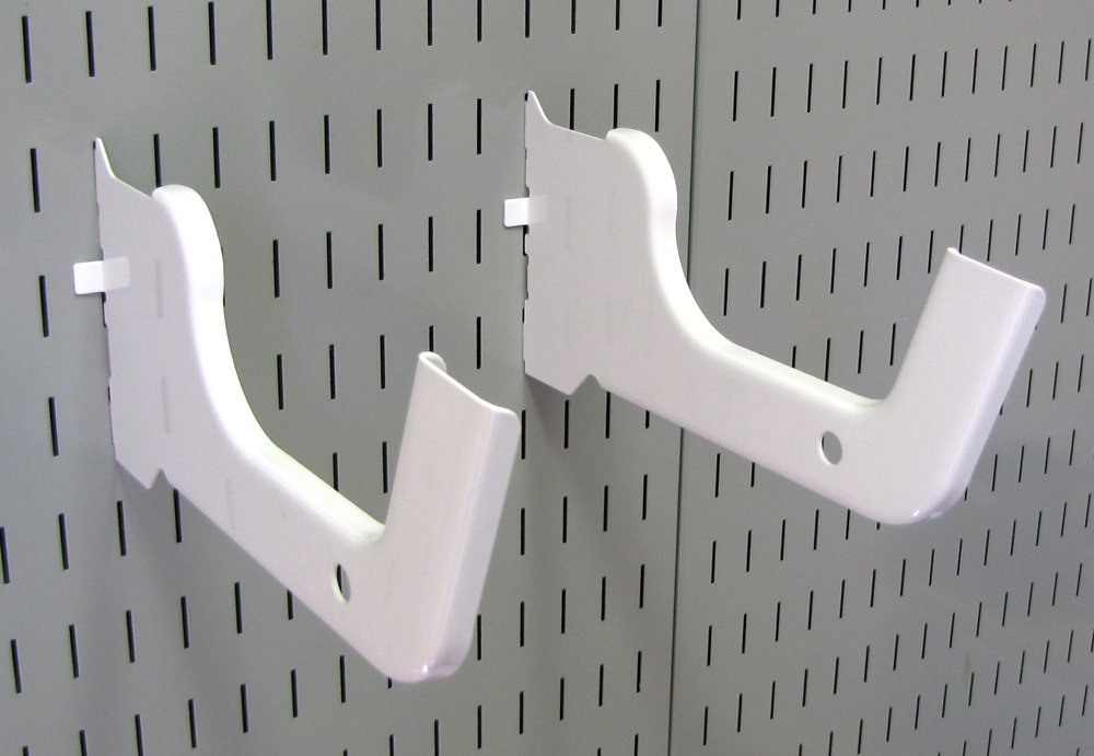 Wall Control Heavy Duty Pegboard Hook Slotted Hook Pair - Slotted Metal Pegboard Heavy-Duty Hooks for Wall Control Pegboard and Slotted Tool Board - White