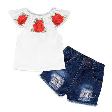 Newborn Baby Girl Off-shoulder Clothes Romper Bodysuit+Flower Short Pants Outfit