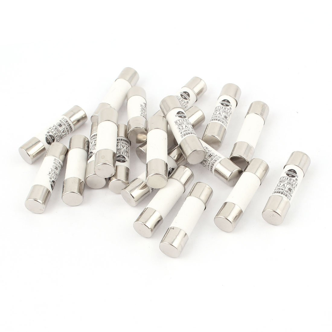 uxcell20 Pcs RO15 RT18 RT14 Ceramic Cylindrical Tube Fuse 32A 380V 10x38mm TRTASJNIEJ2129