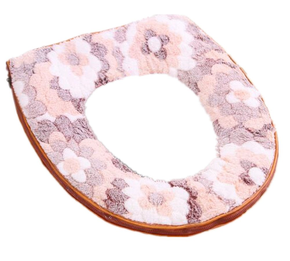 Lucky Beth Autumn Winter Warm Thicken Toilet Mat Toilet Seat Cover Pads Zipper Lucky Beth Bath