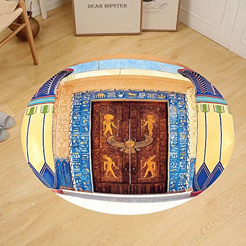 Gzhihine Custom round floor mat Egyptian Decor of Ancient God Sun Ra Old Egyptian Faith Grace Icons Traditional Pagan Print Bedroom Living Room Dorm Decor Multi by Gzhihine
