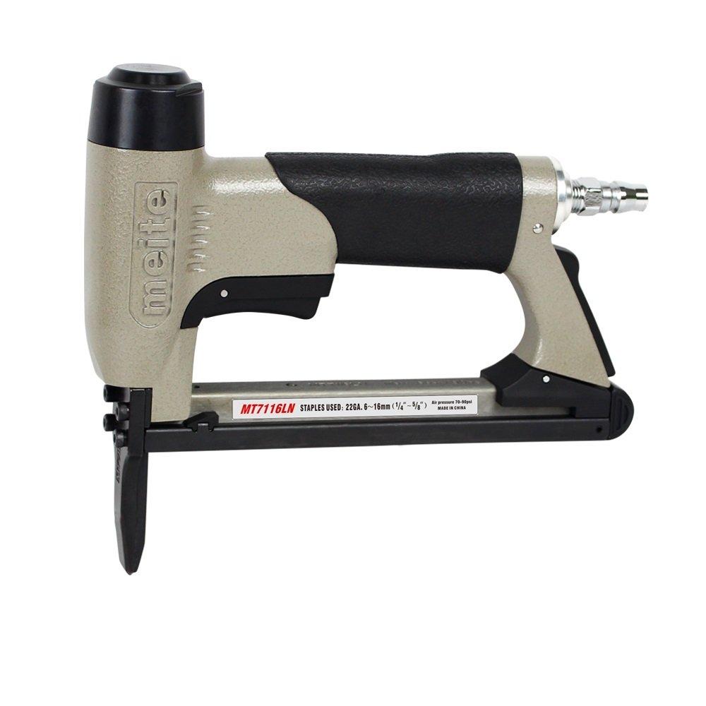 meite MT7116LN Upholstery Stapler- 22 Gauge 71 Series 3/8-Inch Crown C-crown Long Nose Stapler Fine Wire Stapler (1/4'' TO 5/8'' #MT7116LN)