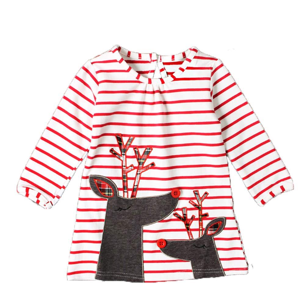 DAYU Little Girl's Christmas Reindeer Dress Long Sleeve Cotton Dresses