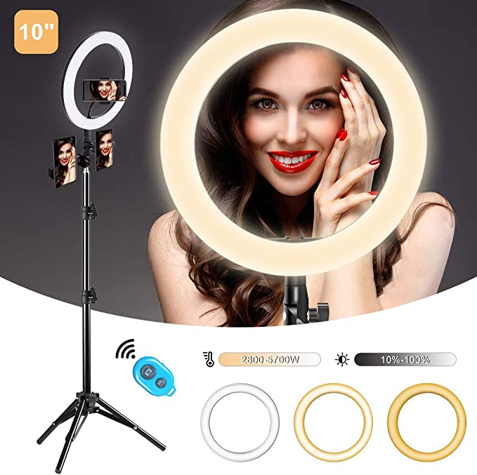 """Aureday LED Circle Light for Photography//Makeup//YouTube Video Recording//TIK Tok//Vlogging 12/"""" Selfie Ring Light with 67/"""" Tripod Stand /& Cell Phone Holder"""