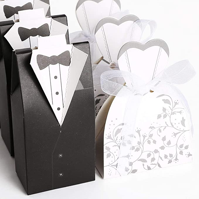 mi ji 50 Couples Caja de gominolas Negro + Novia Color Blanco Boda ...