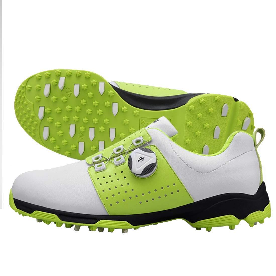 HappyPlatform Golfschuhe Spikes weniger Schuhe Wasserdichte Anti-Rutsch-Abriebfestigkeit (Farbe Drehen Knopf im Freien (Farbe Anti-Rutsch-Abriebfestigkeit : ROT, Größe : 39) Grün e1b2e5