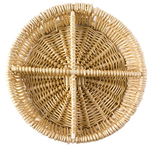 Round Natural Willow Snack Basket Tray Organizer, Small - 8 Inches