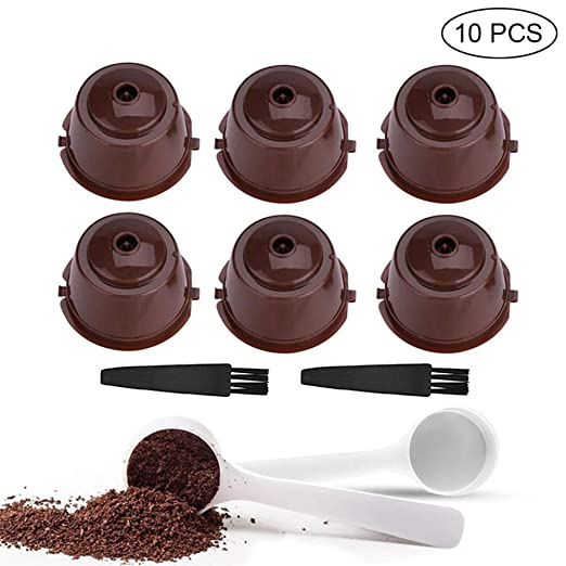 Umiwe Filtros Cápsulas de Café Puede Rellenables 10 Pcs, Recargable Reutilizable para Cafetera Dolce Gusto con 2 Cucharón de Plástico y 2 Cepillo de ...