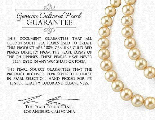 THE PEARL SOURCE 14K Gold 9-10mm Round Genuine Golden South Sea Cultured Pearl Necklace in 18'' Princess Length for Women by The Pearl Source (Image #3)