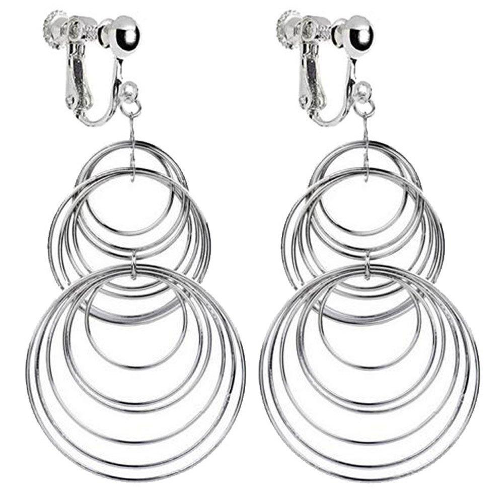 Native American Street Style Metal Circle Clip on Dangle Earrings Long Tassel Art Deco for Girls Women