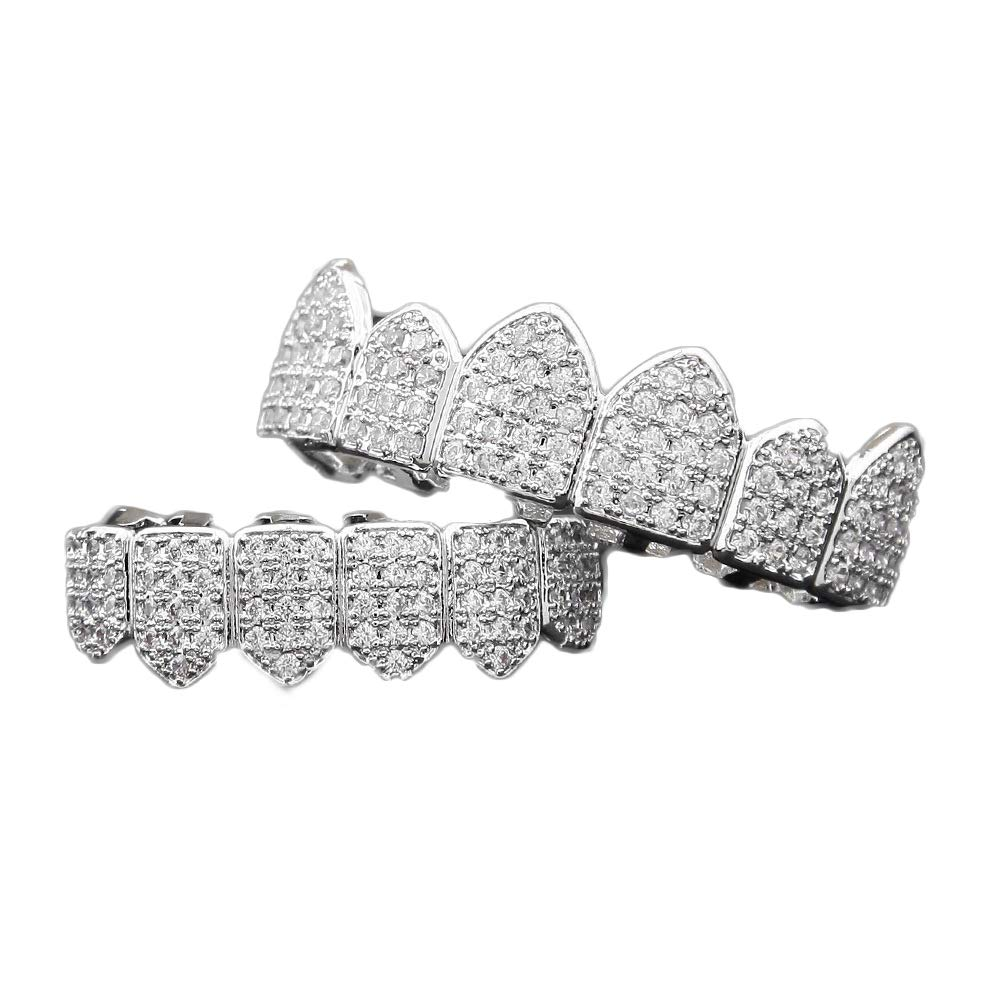 Fiyomet Diamond Grillz Set 24K Plated Gold Macro Pave CZ Iced Out Mouth Teeth Grills by Fiyomet