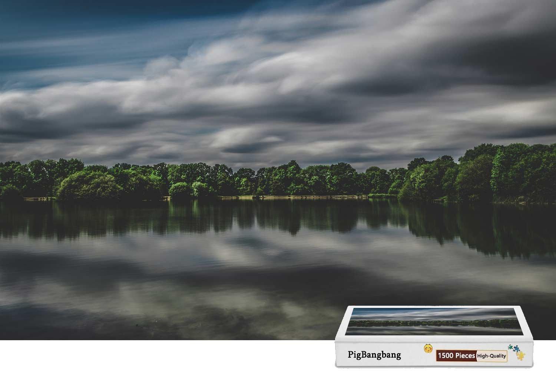 『3年保証』 pigbangbang –、ハンドメイドintellectivゲーム困難接着のJigsawプレミアム木製 – Lake