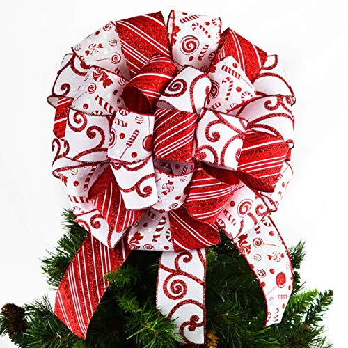Candy Cane Christmas Tree Bow | Christmas Tree Bow Topper | Present Bow | Red White : TB17