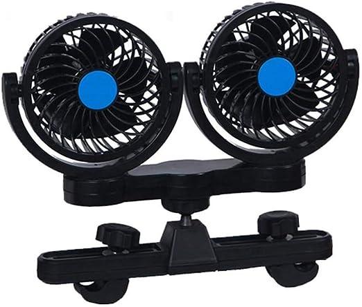 Doble Cabeza Mini 12V Clip De Asiento De Coche Ventilador De Enfriamiento 360 Rotación Fuerte Viento Enfriador De Aire del Coche Escape Ventiladores del Disipador De Calor Control De Cable: Amazon.es: Hogar
