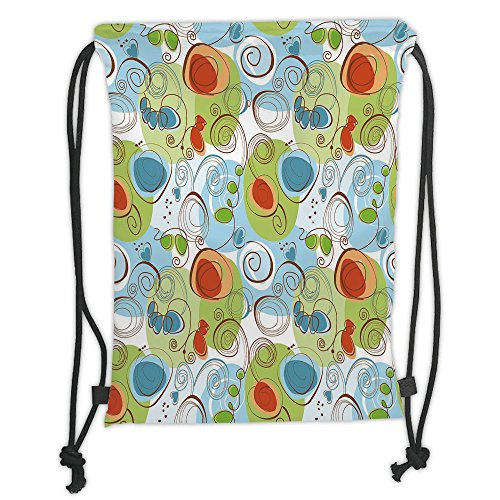 Light Blue Funky Flower (Custom Printed Drawstring Sack Backpacks Bags,Modern Decor,Floral Flowers with Geometrical Abstract Funky Swirls Image,Light Green Blue and White Soft Satin,5 Liter Capacity,Adjustable String Closure,)