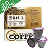 100% Jamaica Blue Mountain Direct Trade Single-Serve Cups, 18 ct. of Single Serve Capsules for Keurig K-Cup Brewers, Fresh Roasted Coffee LLC.