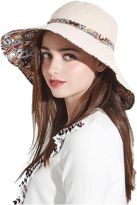 Cappello da Esterno Pieghevole da Donna con Cappello a Tesa Larga Cappelli da Sole con Cappello a Protezione Solare UV