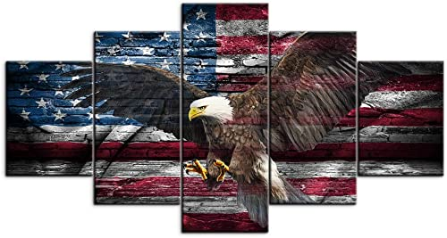 VIIVEI Vintage Bald Eagle USA US American Flag Canvas Wall Art Retro Eagle Prints Home Decor Thin Red Line Picture