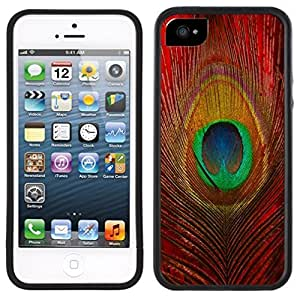 Red Peacock Feather Handmade iPhone 5 5S Black Case