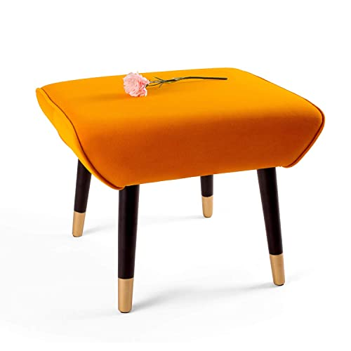 Adeco Ottoman Stool Seat – Modern Simple Nordic -17 Inches Height Orange