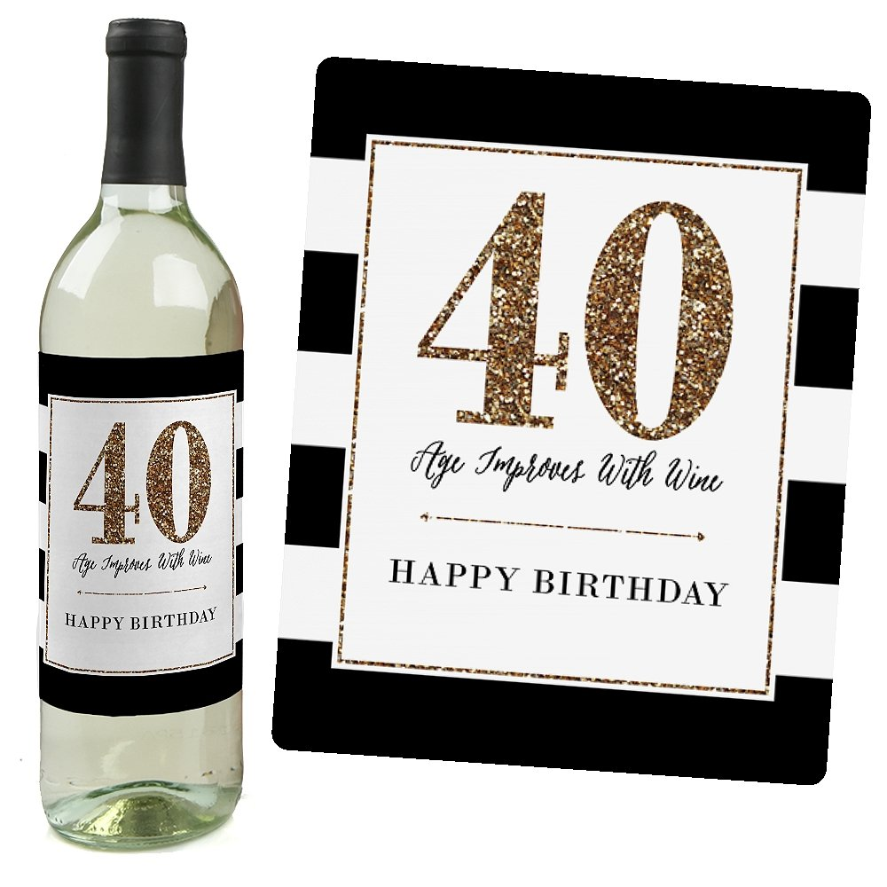 Chic 40th Birthday - Pink, Black and Gold - Birthday Gift For Women - Wine Bottle Label Stickers - Set of 4 by Big Dot of Happiness (Image #4)