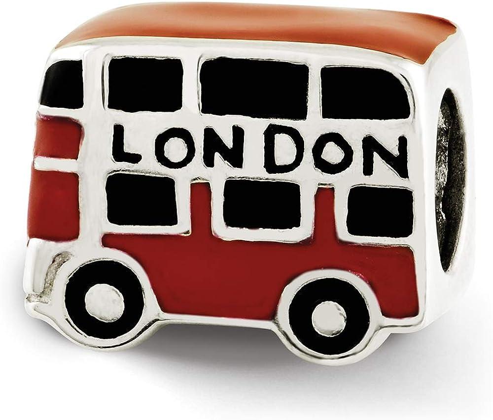 Sterling Silver Reflection Enamel London Double Decker Bus Solid Bead