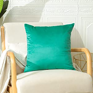 Artscope Luxury Velvet Throw Pillow Covers with Invisible Zipper, Super Soft Velvet Decorative Square Cushion Covers Cases for Sofa Couch Bedroom Home Decor 18x18 Inches (Turquoise, 1)