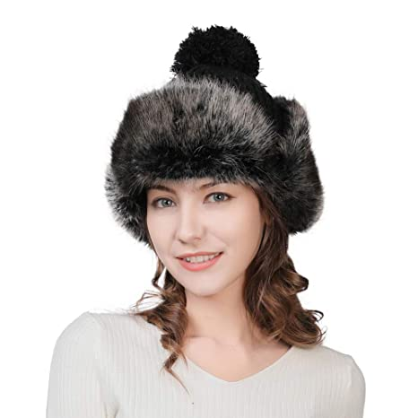 eb12825e033 Womens 10% Wool Knit Beanie Trapper Faux Fur Flaps Hunting Russian Bomber  Winter Hat Aviator