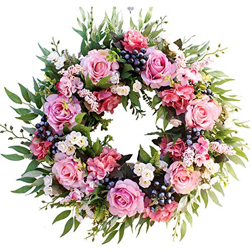 - HEBE 22 Inch Large Pink Rose Flower Wreath Artificial Floral Door Wreath Welcome Wreath for Front Door Indoor Outdoor Wedding Window Wall Home Holiday Decor All Year Around