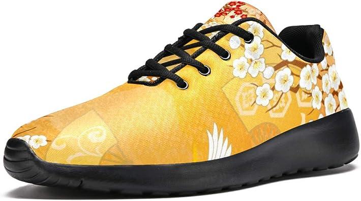 TIZORAX - Zapatillas deportivas para mujer, diseño de grúas voladoras y flores, color Multicolor, talla 39 EU: Amazon.es: Zapatos y complementos