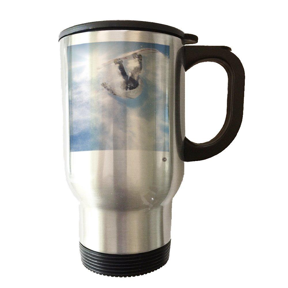 スノーボード雪 – 14オンスステンレススチール真空タンブラーTravel Mug with Handle and Leak Proof蓋 B06X1FPCG8
